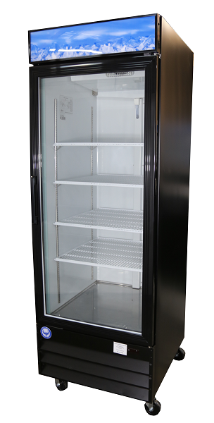 23 Cu Ft Black Glass Door Commercial Refrigerator