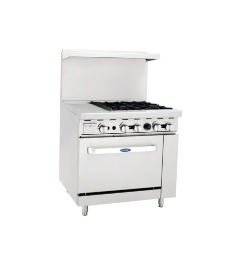 36 range oven combo with flat grill and four burner range