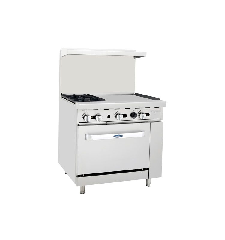 36 commercial oven w/ 2 burner hotplate and flat griddle